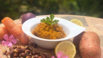 Carrot, sweet potato and hazelnut creamy vegan dip recipe