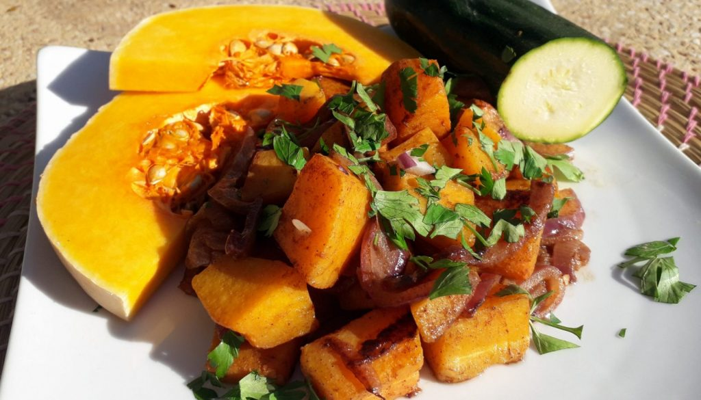 Chunky roast squash salad with courgette, red onion and cinnamon recipe