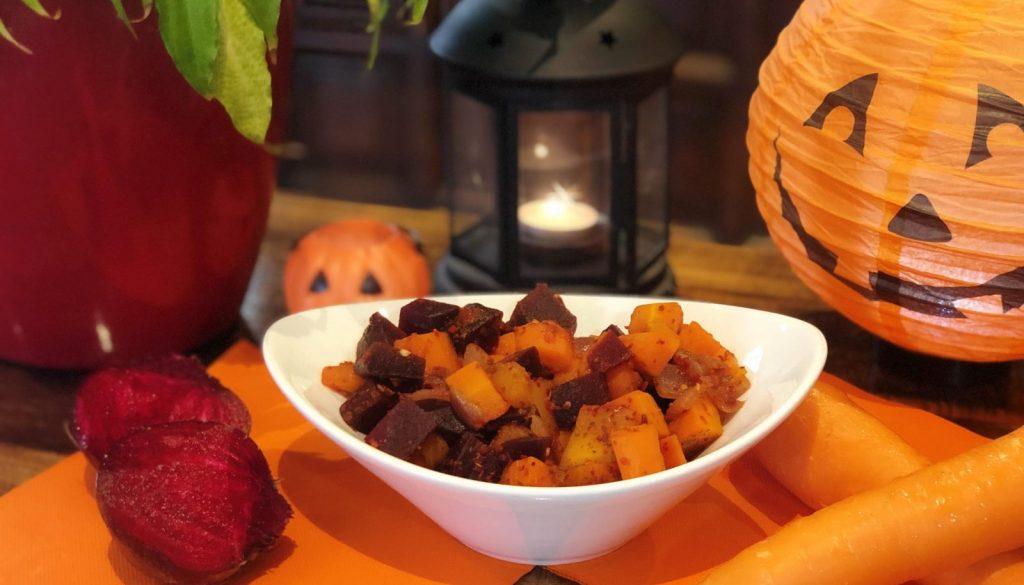Happy Halloween - Vegan roast pumpkin, carrot and beetroot recipe
