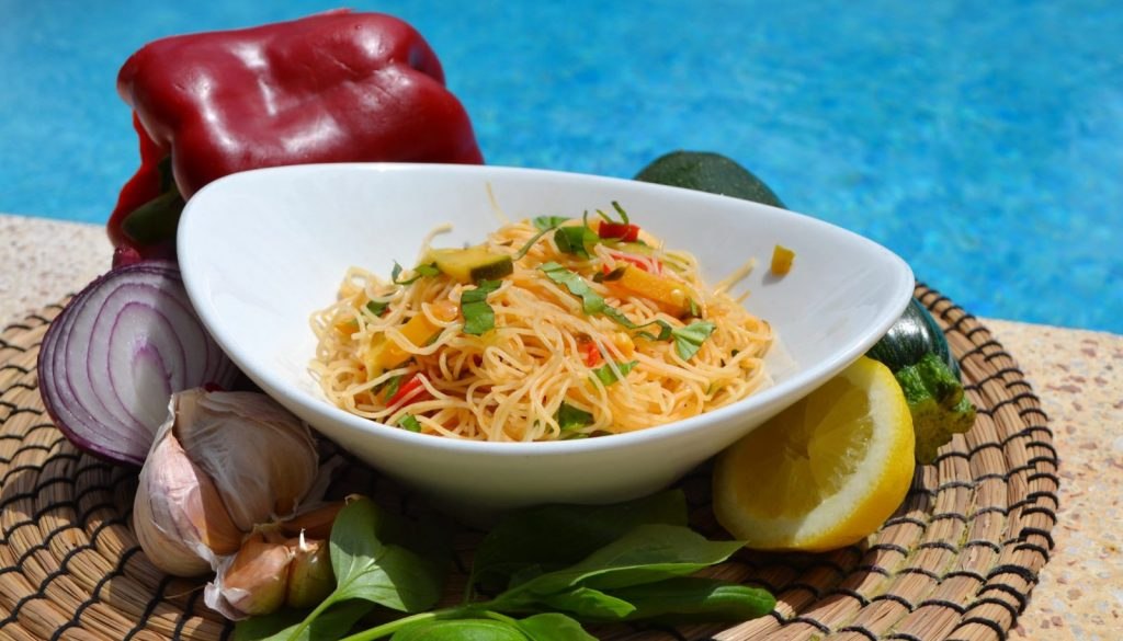 Mediterranean Vegan rice noodles recipe