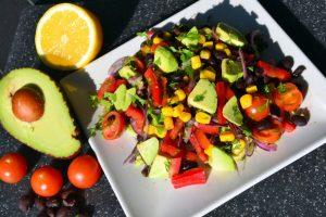 Vegan blackbean, avocado and sweetcorn salad recipe