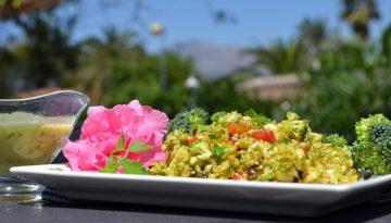 Vegan broccoli slaw recipe with tangy mustard dressing