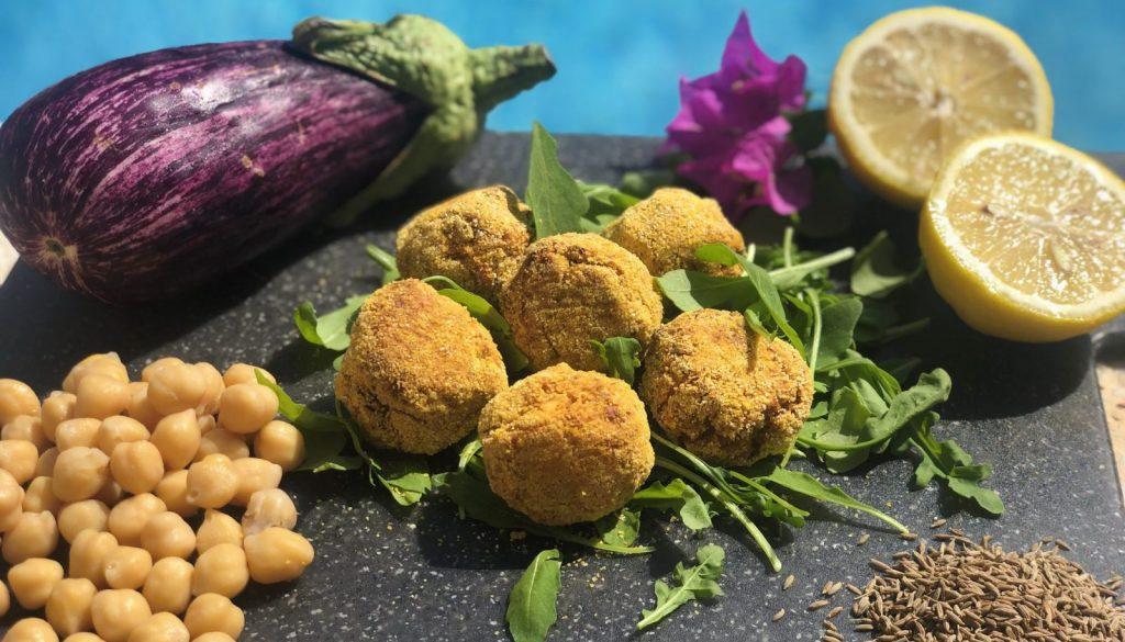 Vegan chickpea and aubergine bites recipe