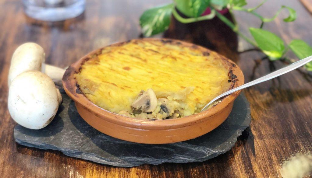 Vegan mushroom pie with sweet potato topping