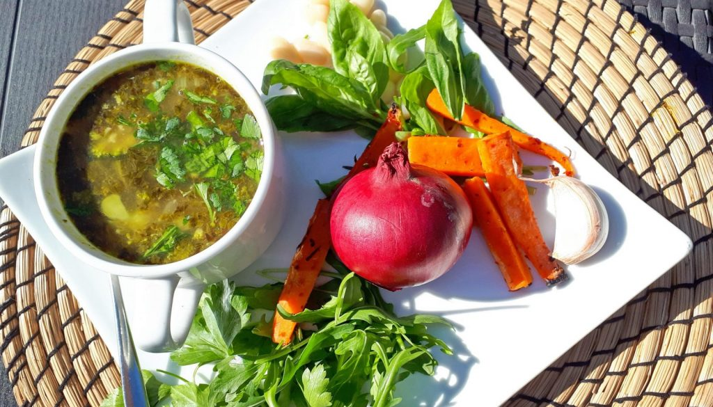 Wholesome winter vegetable soup with vegan pesto and white bean recipe