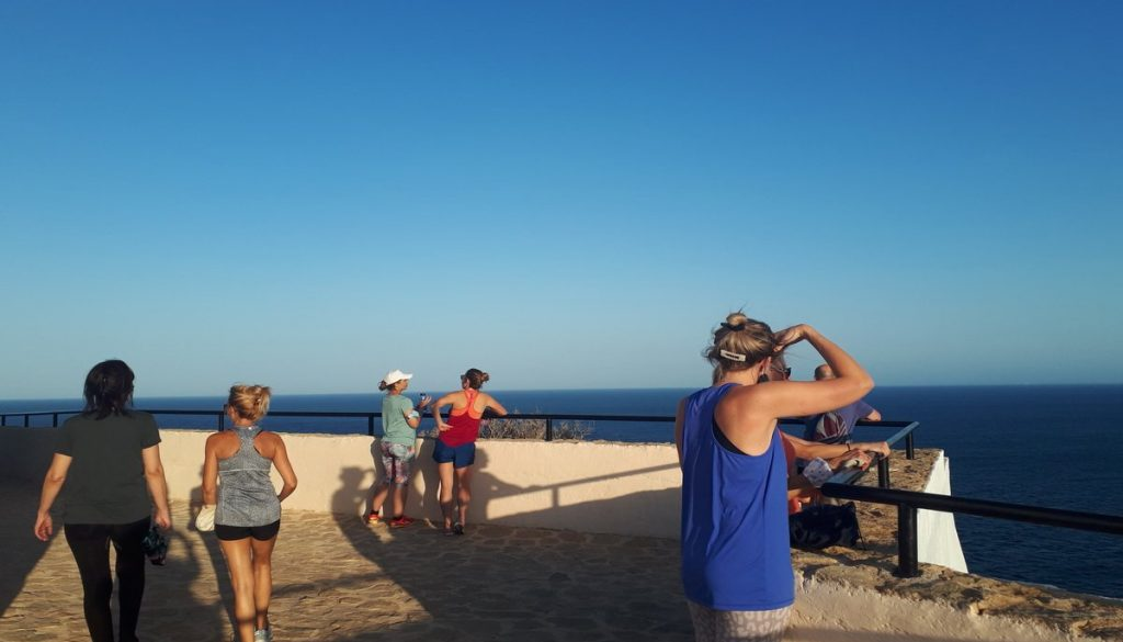 Guests looking out to sea at La Crisalida Retreats, health and wellbeing retreat, life makeover retreat, Spain