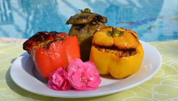 Plantbased recipe stuffed roasted peppers with rice and vegetables health retreat