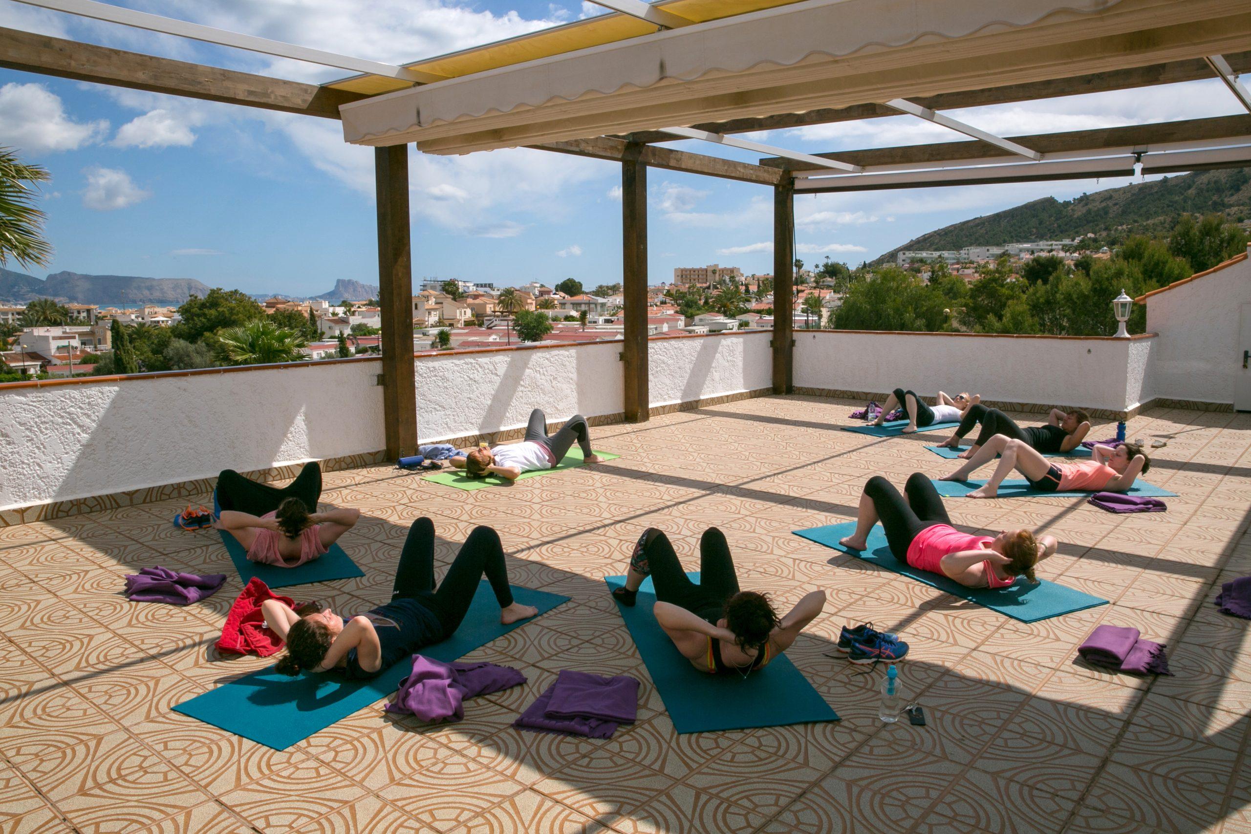 Facilities stunning outdoor yoga terrace sea views La Crisalida Retreats Spain