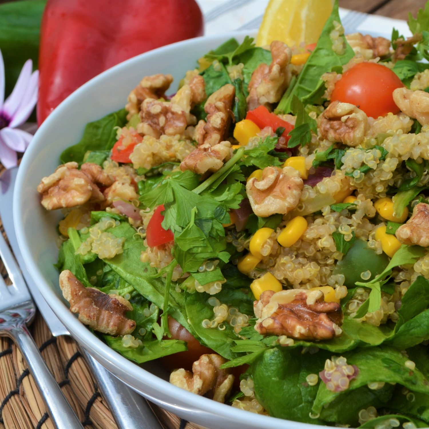 stir fry quinoa with spinach and walnuts vegan plantbased recipe