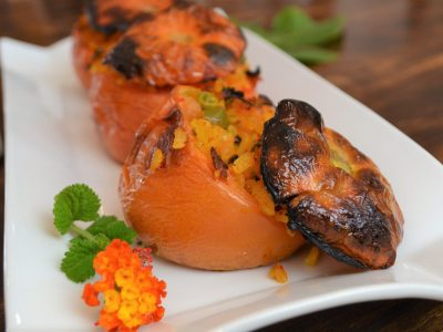 roast stuffed tomatoes with rice recipe plantbased health retreat Spain